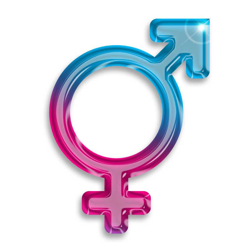 白色背景上组合在一起的男女性别符号
