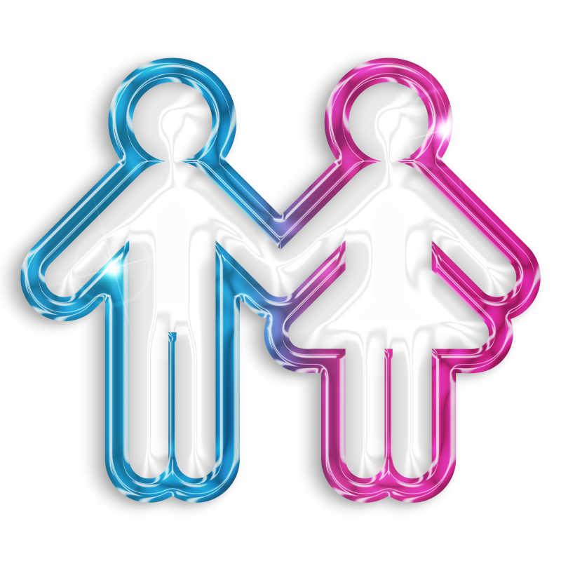 白色背景上拉着手的粉色和蓝色人形符号