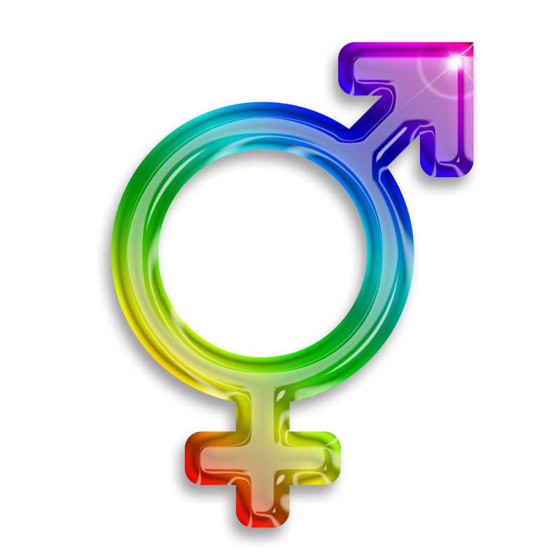 白色背景上的彩色的男性女性代表符号