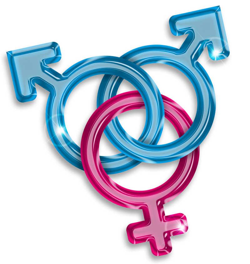 白色背景上交织在一起的蓝色和粉色的男女性别符号