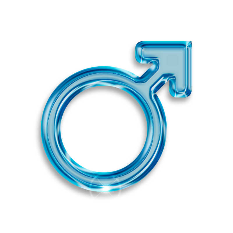 白色背景上的蓝色透明材质男性符号