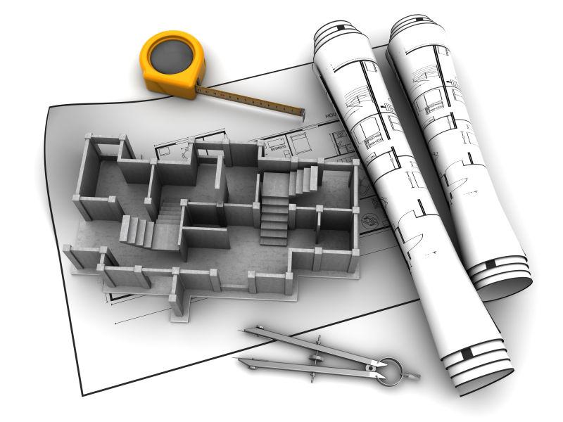 设计图纸和3d建筑模型