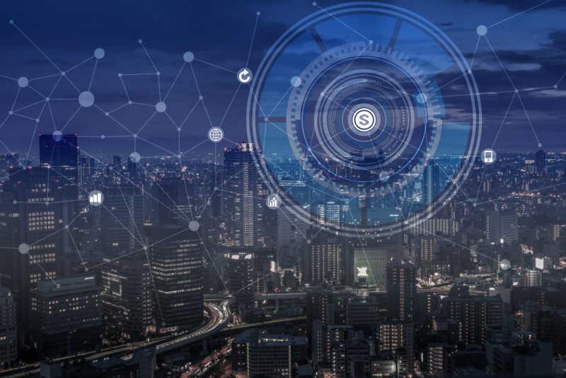 城市夜色下的互联网通信技术