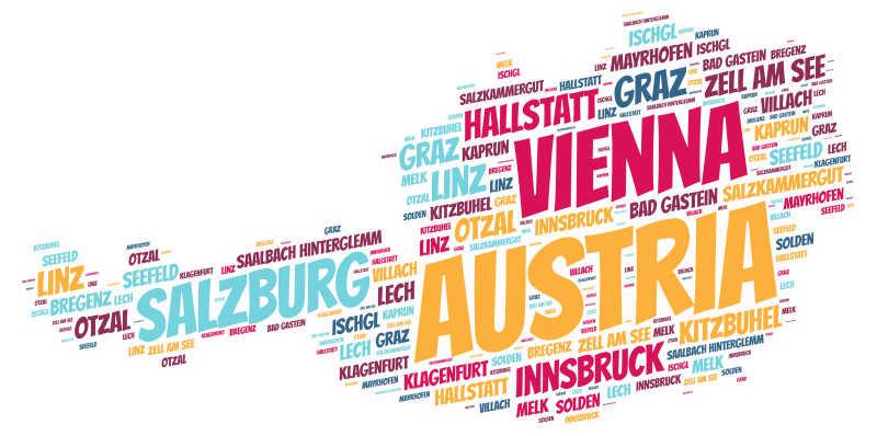 白色背景前奥地利旅游地名