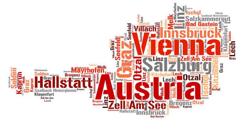 白色背景前奥地利旅游地名单词