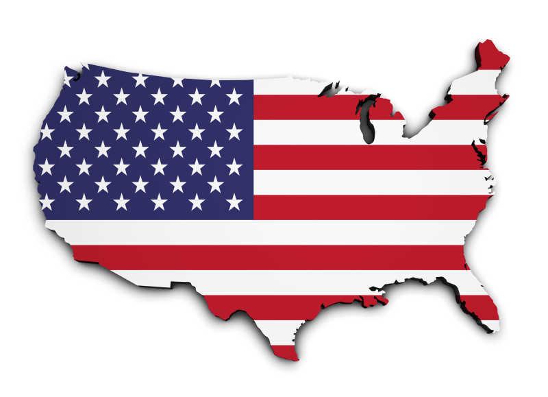 国旗颜色的美国地图