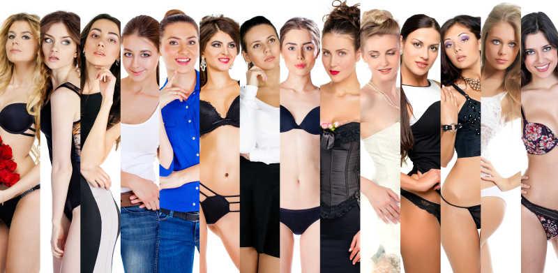 一群美丽的年轻女性时尚拼贴