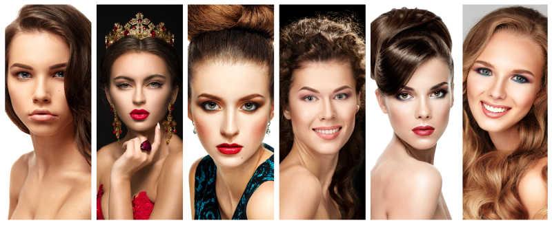 有吸引力的不同美女们的妆容