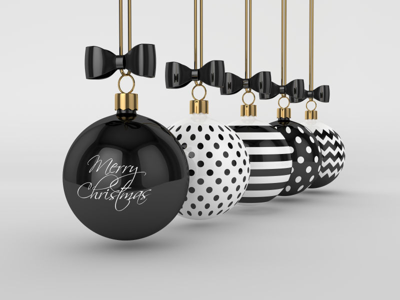 灰色背景下的黑白花纹圣诞装饰