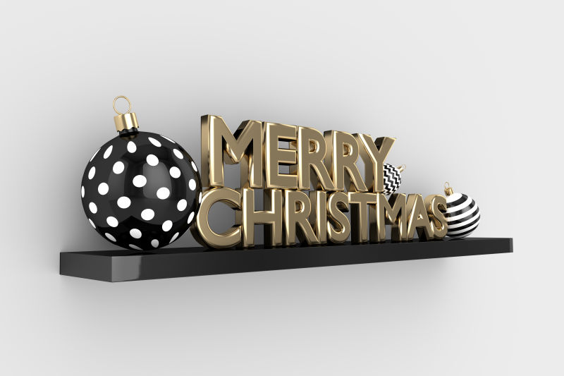 灰色背景下圣诞快乐的装饰品