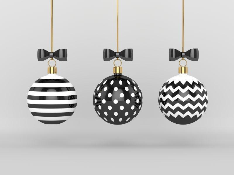 灰色背景下黑白花纹圣诞彩绘
