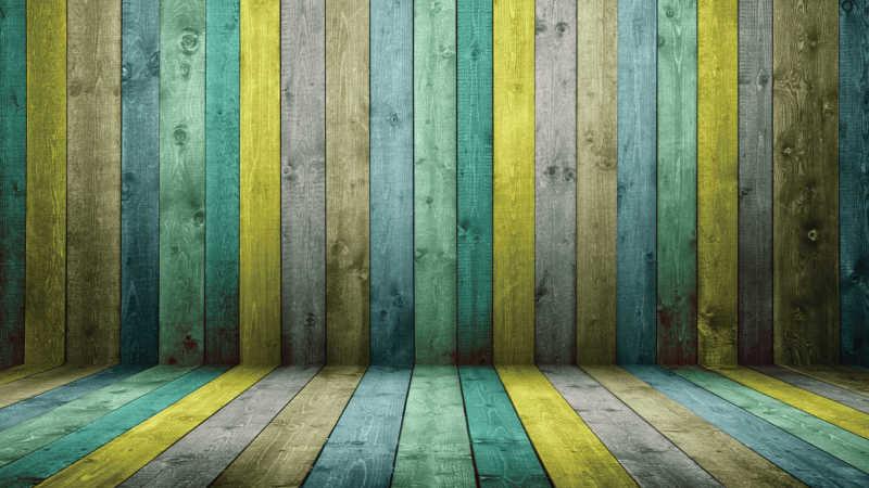 彩色的木纹理地板和背景墙