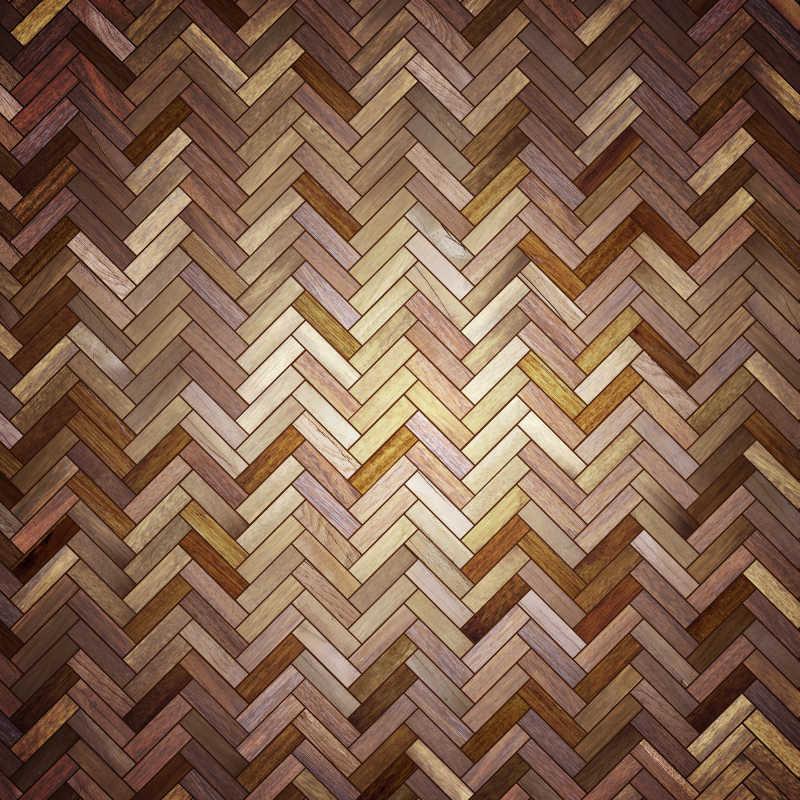 褐色和浅黄色的斜纹拼花地板纹理