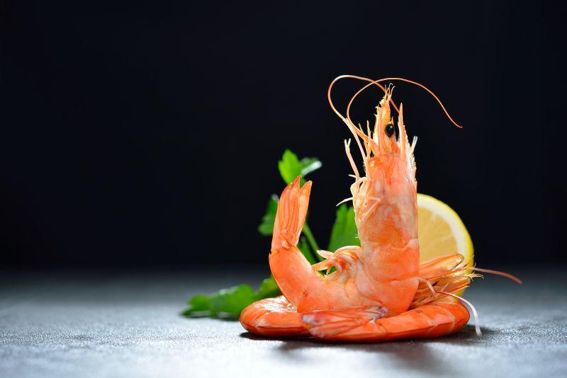 黑虾背景上的调味虾