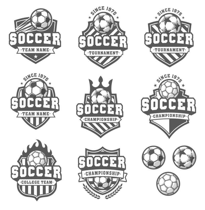 矢量灰色的足球标志