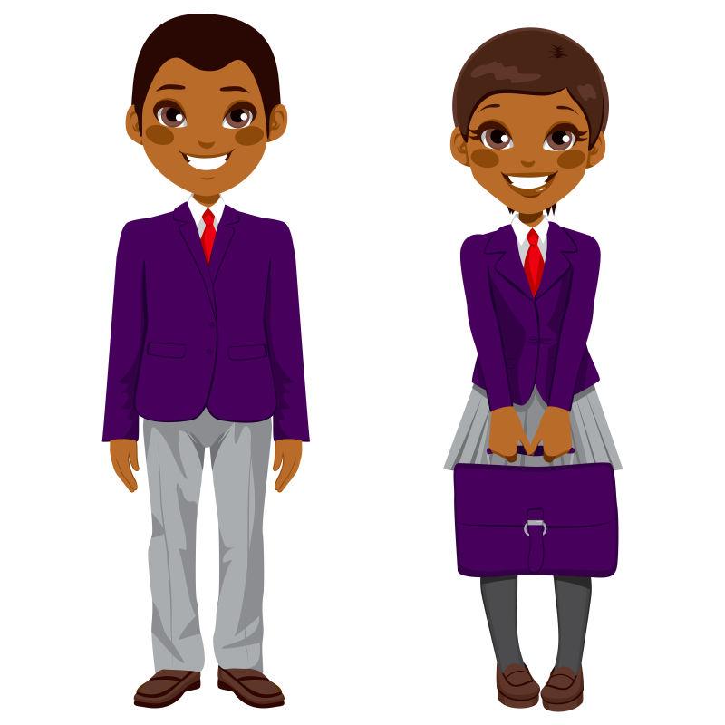 可爱的非洲裔学生矢量插图