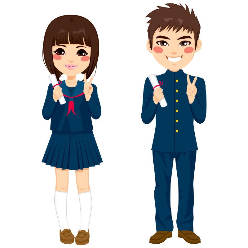 矢量穿日本校服的卡通学生