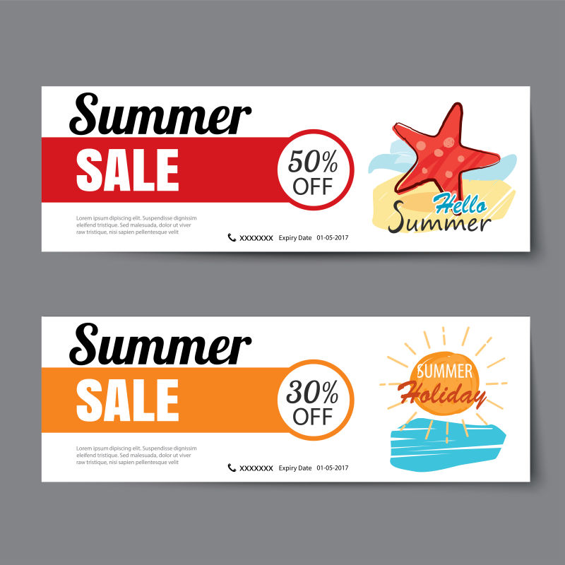 夏季销售矢量优惠券模板