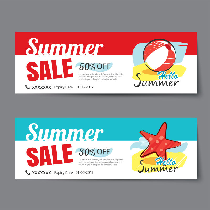 夏季销售券模板矢量图