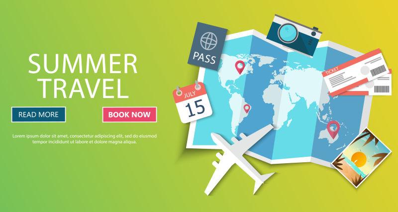 旅游概念海报矢量设计模板