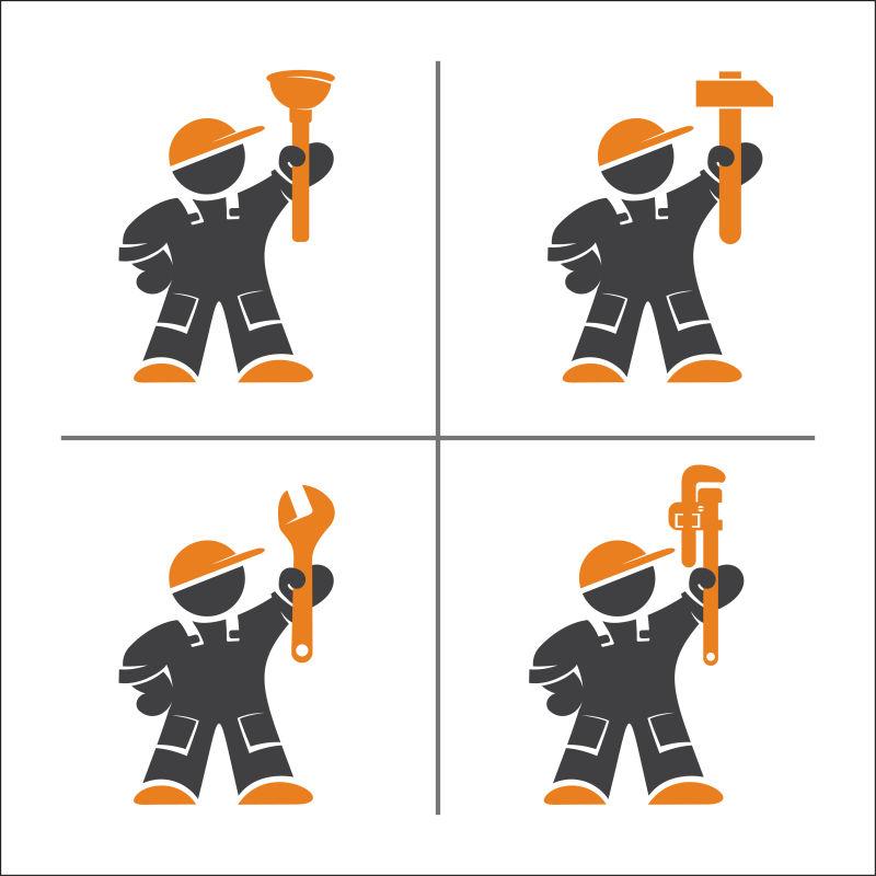 矢量的水管工人插画