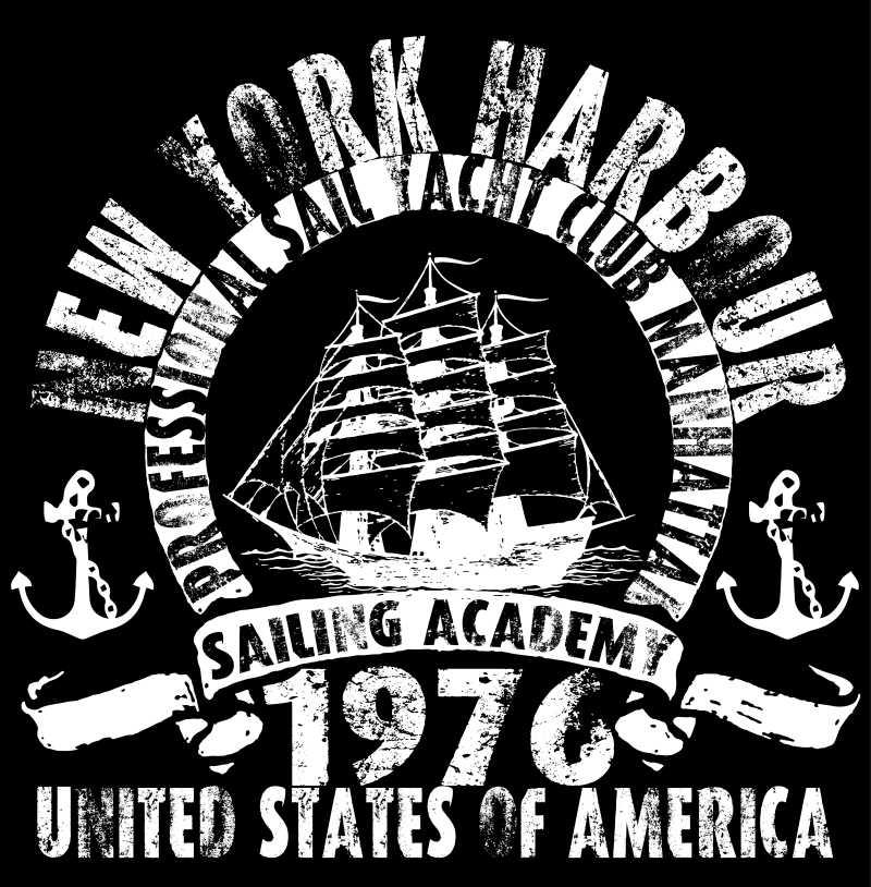 海洋帆船俱乐部矢量图案设计