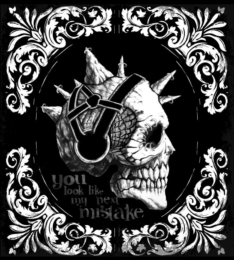 矢量的黑色骷髅图案插画