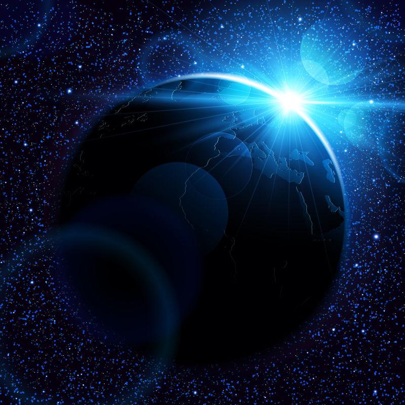 太空中的日出矢量背景