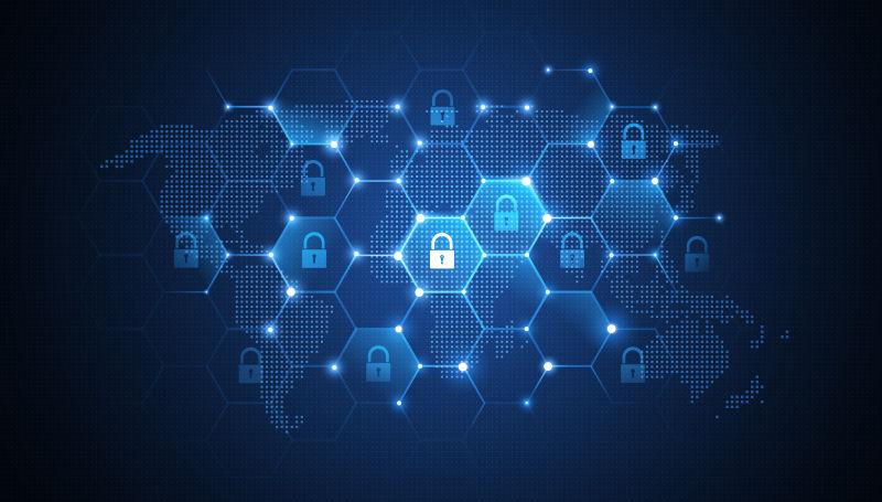 全球网络安全概念矢量背景