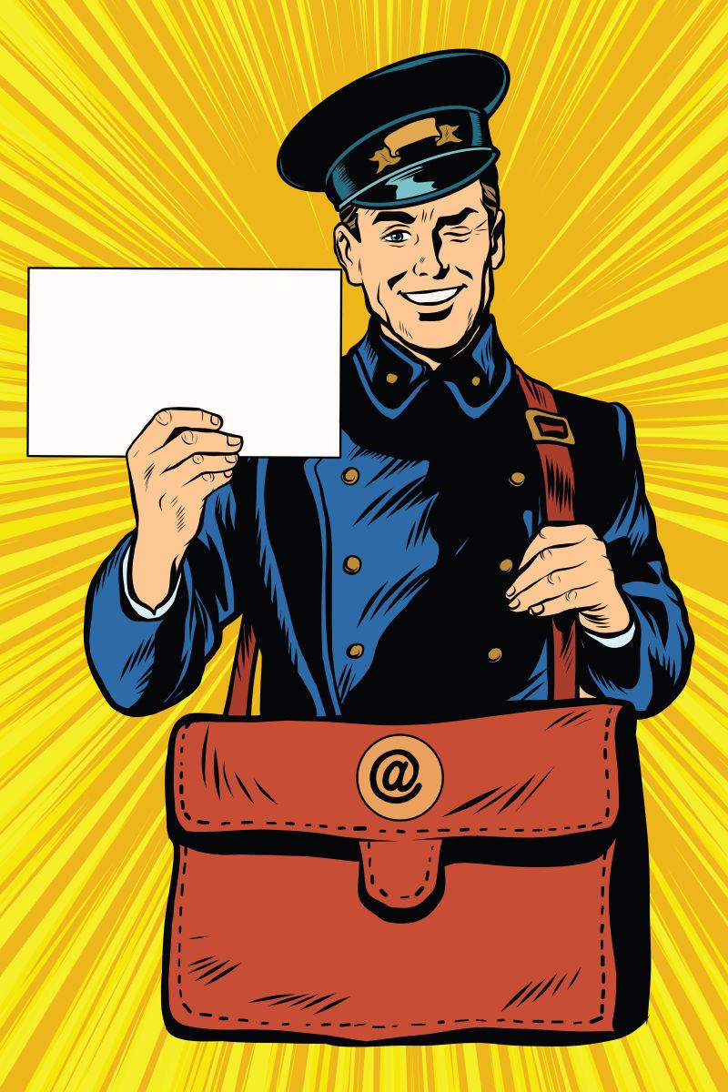 矢量波普风格的送信的邮差漫画插图