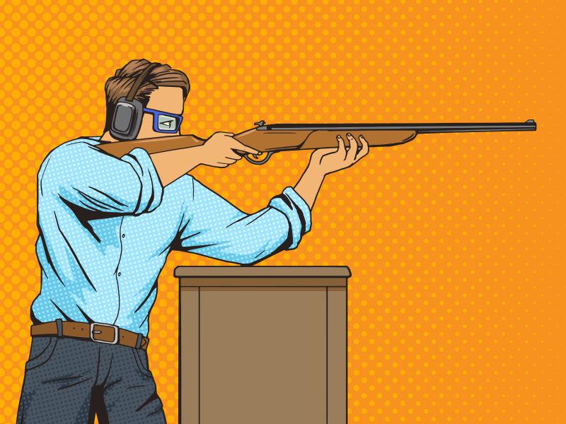 矢量波普风格的射击的男人漫画插图