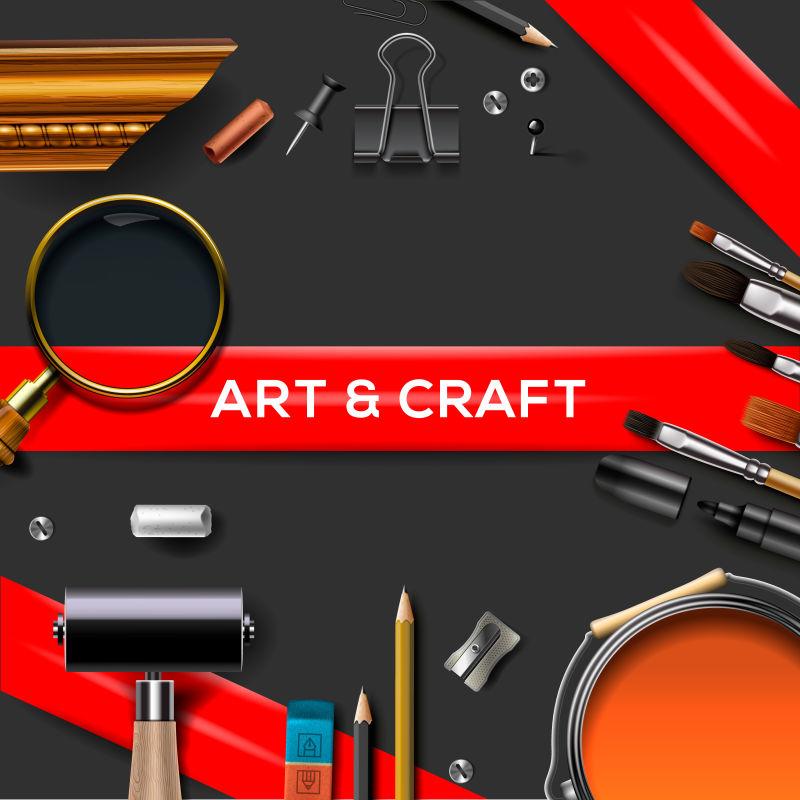 现代背景的艺术工具矢量模板