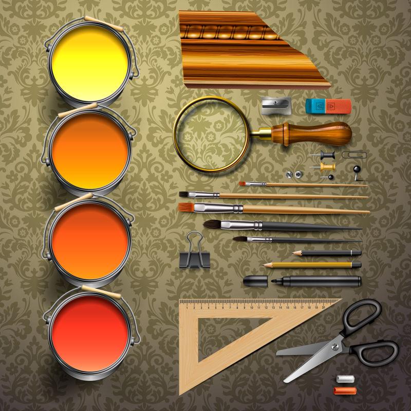 暗纹背景上的美术工具矢量图
