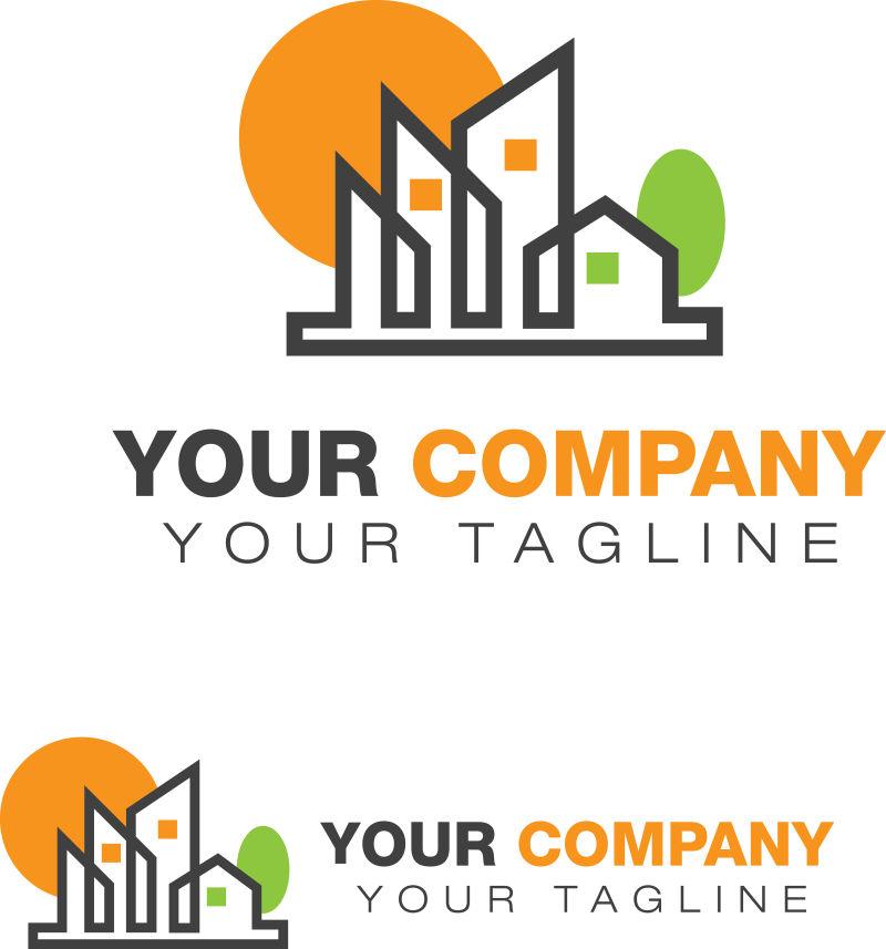 抽象的房地产logo矢量设计