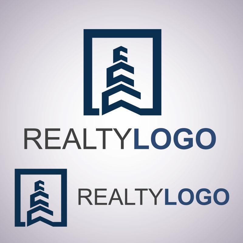 矢量抽象的房地产logo模板