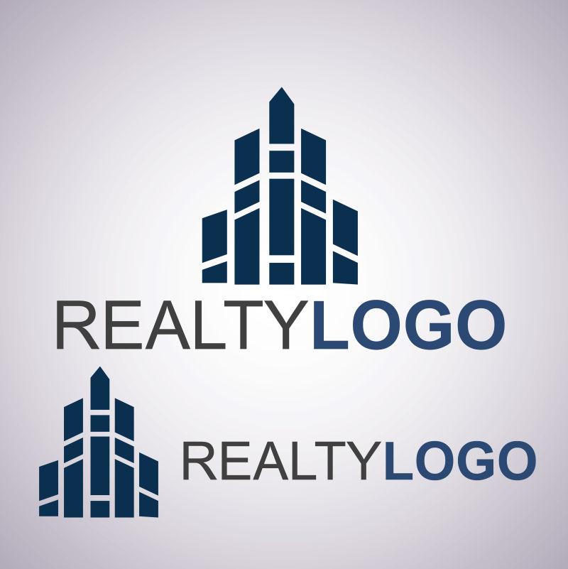 深蓝色房地产logo矢量设计