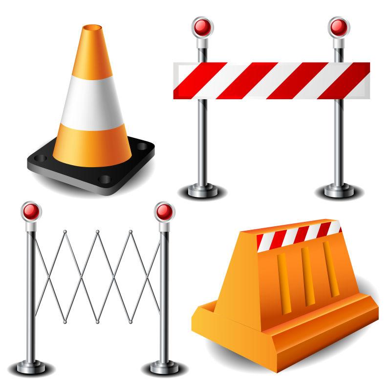 各种路障警示道具的矢量插图