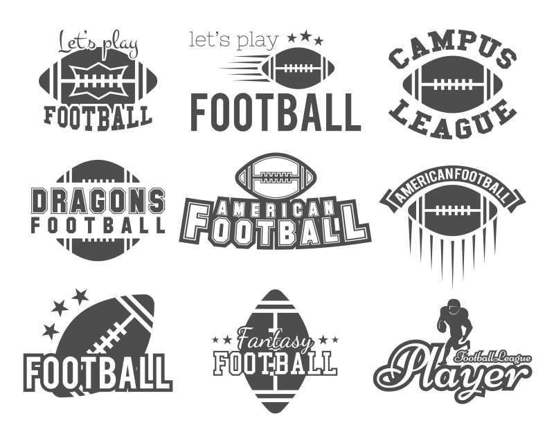 美式足球创意图标设计矢量插图