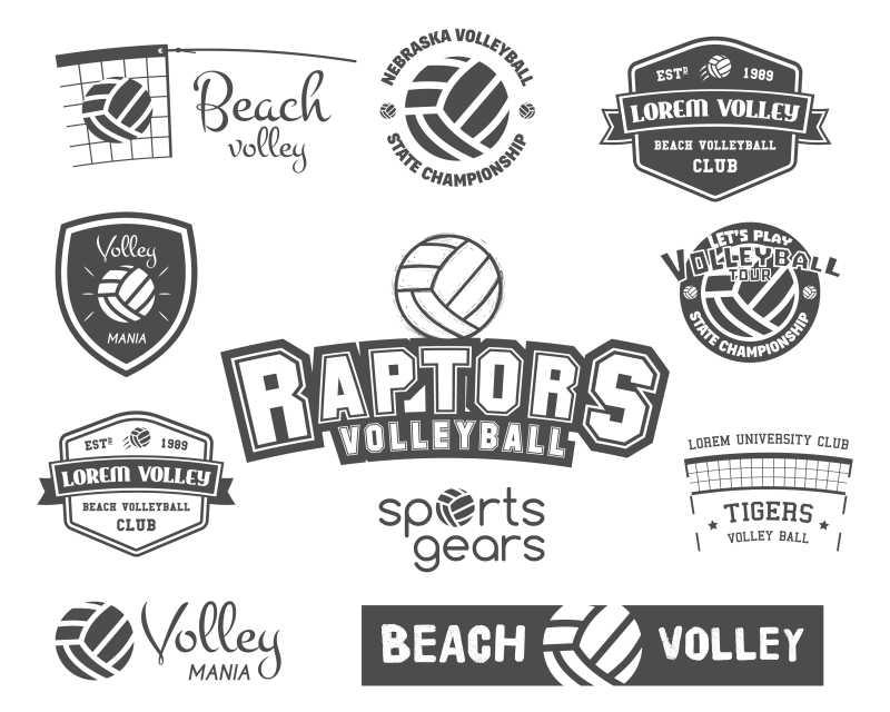 排球标志创意设计矢量插图