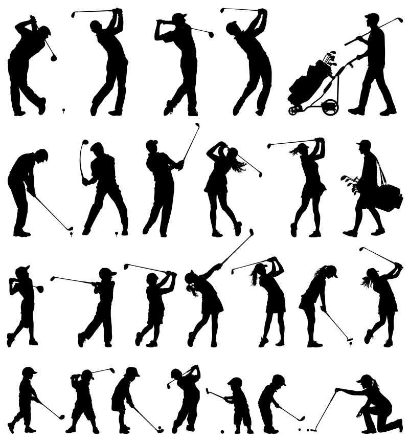打高尔夫的人矢量剪影