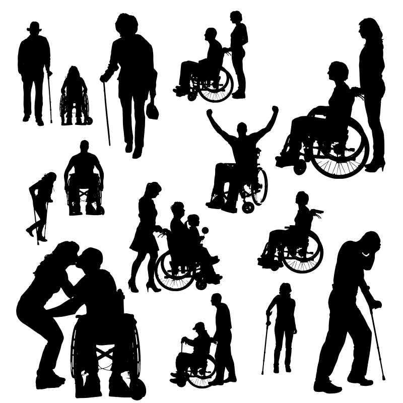 残疾人矢量剪影