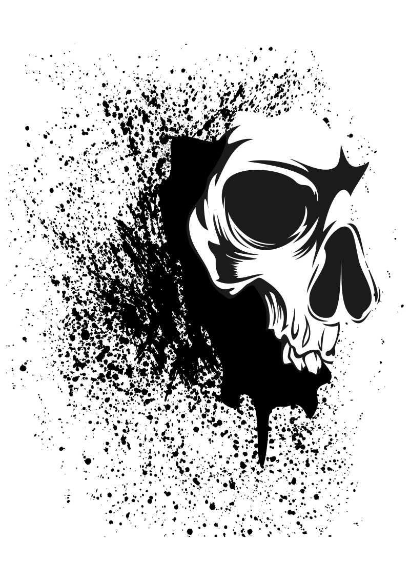 装饰性的头骨图案设计矢量图