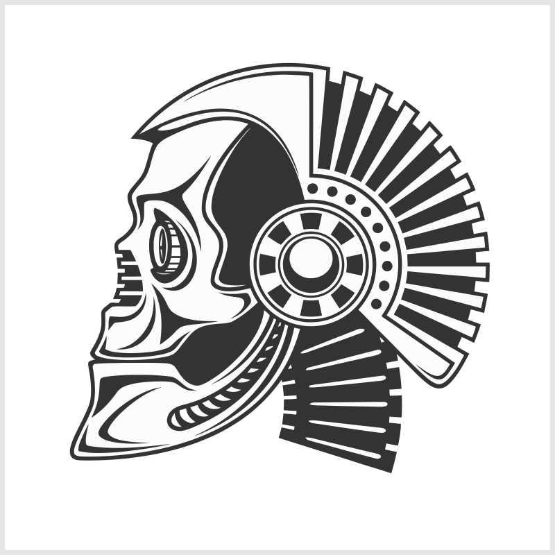 摇滚骷髅纹身矢量图标设计