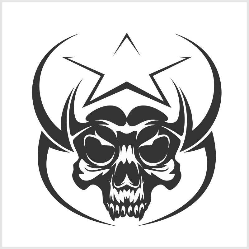 骷髅纹身矢量图标设计插图