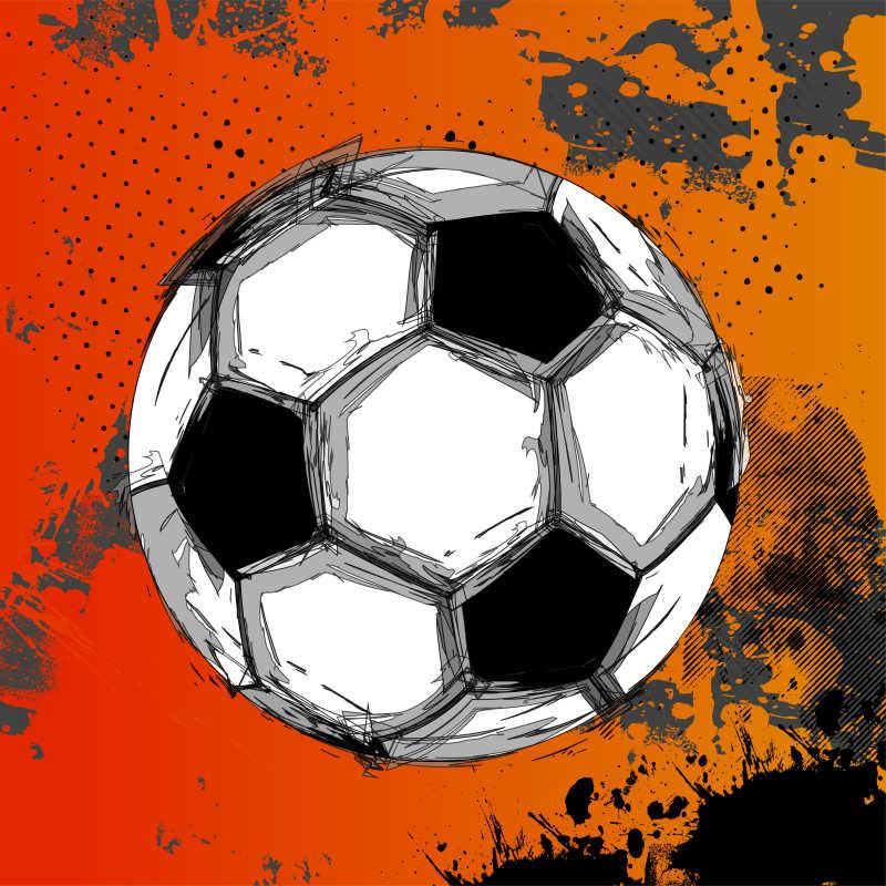 矢量的手绘风格足球插画
