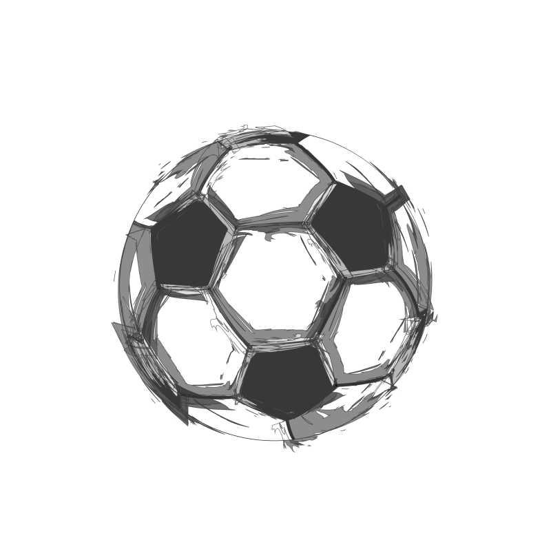 手绘风格的足球矢量插画
