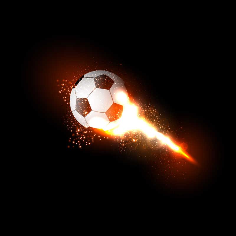 带着火焰拖尾的矢量足球背景