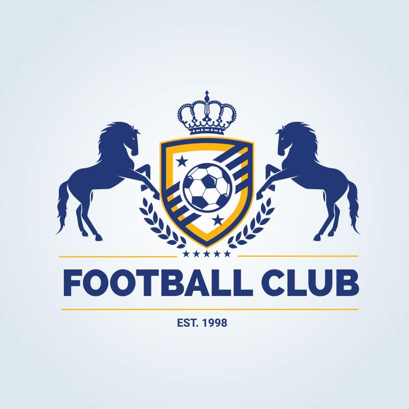 有马的元素的矢量足球俱乐部徽章设计